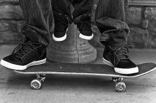 Skateboard Dad and Toddler
